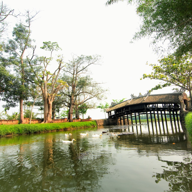 """The ancient wooden Thanh Toan Bridge, near Hue, Vietnam"" stock image"