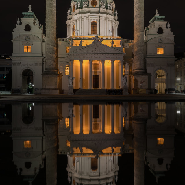 """Vienna, the Karlskirche at night"" stock image"