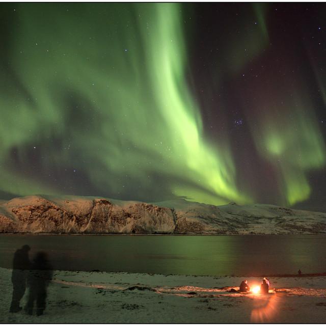 """Aurora borealis campfire"" stock image"