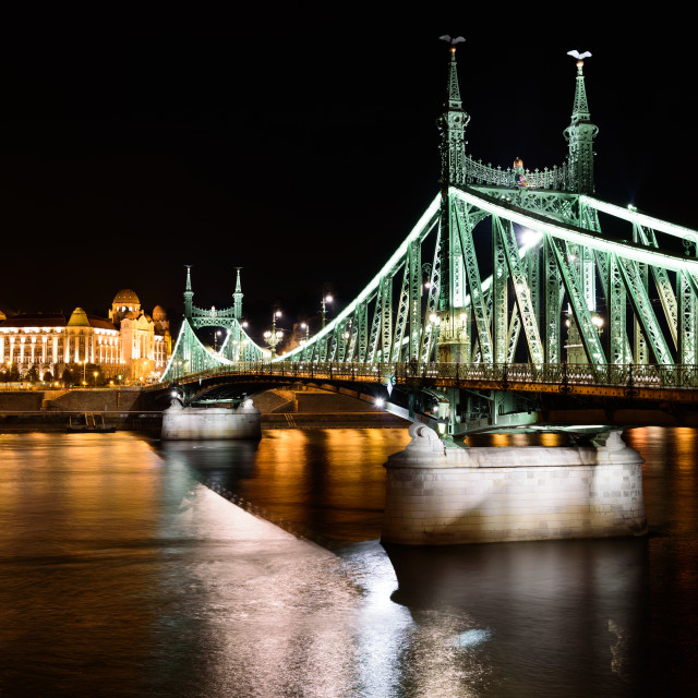 """Liberty bridge with Gellert hotel/spa in Budapest, Hungary"" stock image"