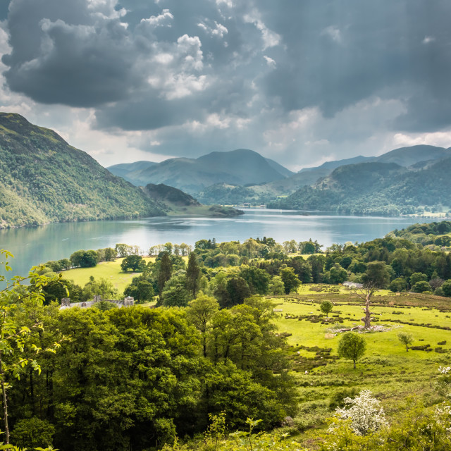 """Ullswater and Glenridding from Gowbarrow Fell"" stock image"