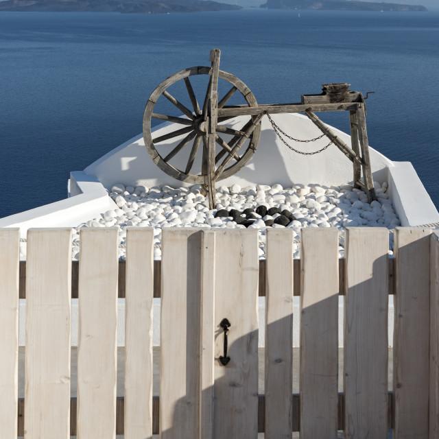 """Wooden Wheel, Oia, Santorini"" stock image"