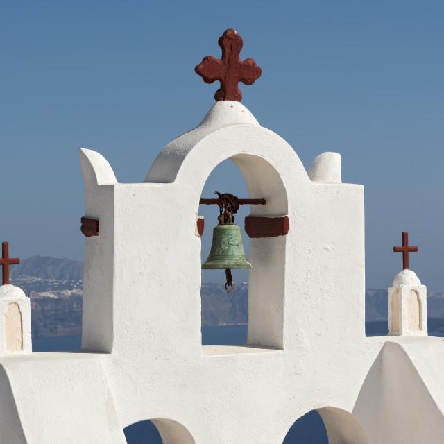 """Bell Tower, Oia, Santorini"" stock image"