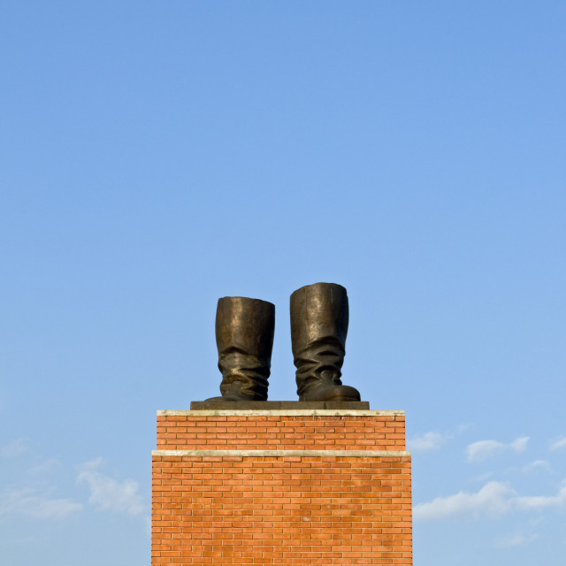 """""""Stalin's Grandstand, Statue Park, Budapest, Hungary"""" stock image"""