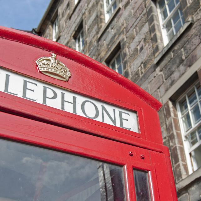 """Red Phone Box, Edinburgh, Scotland"" stock image"