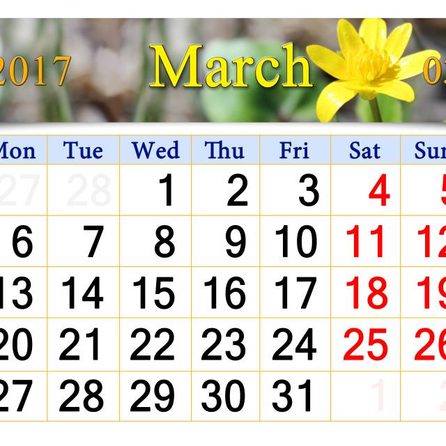 """calendar for April 2017 with flower of Lesser celandine"" stock image"