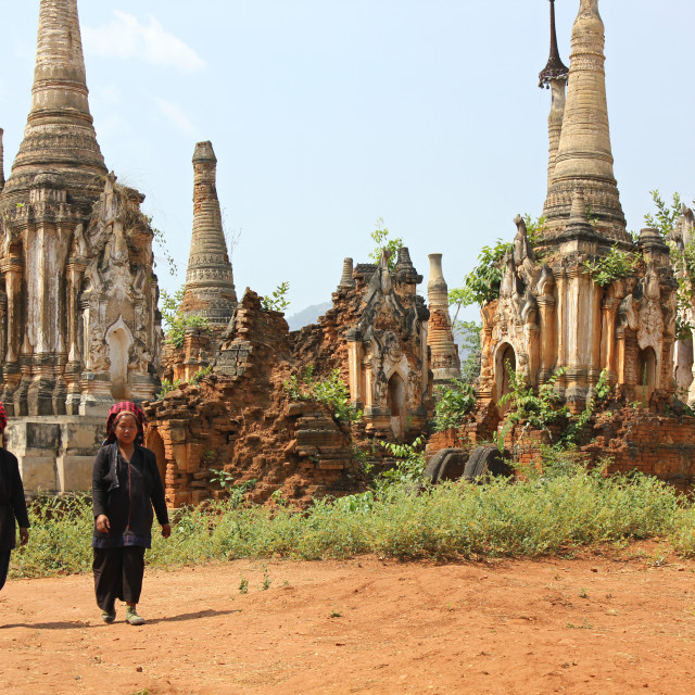 """Intha women among the stupas of In Dein, Burma (Myanmar)"" stock image"