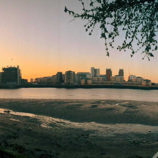 """Canary Wharf Beyond The Thames"" stock image"