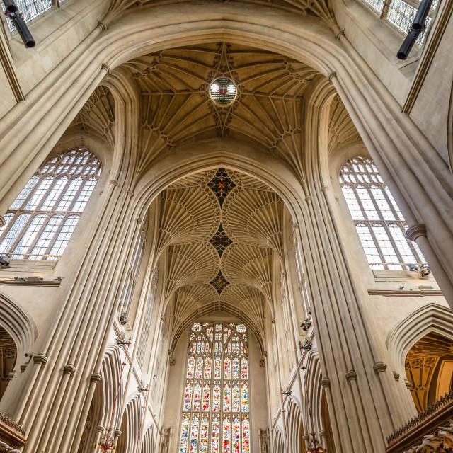 """Interior view of Bath Abbey"" stock image"