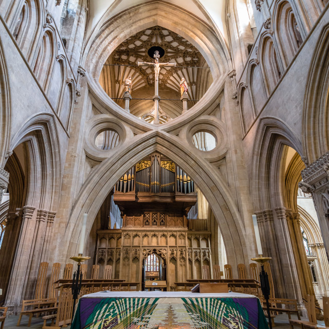 """""""Altar of the Cathedral of Wells"""" stock image"""