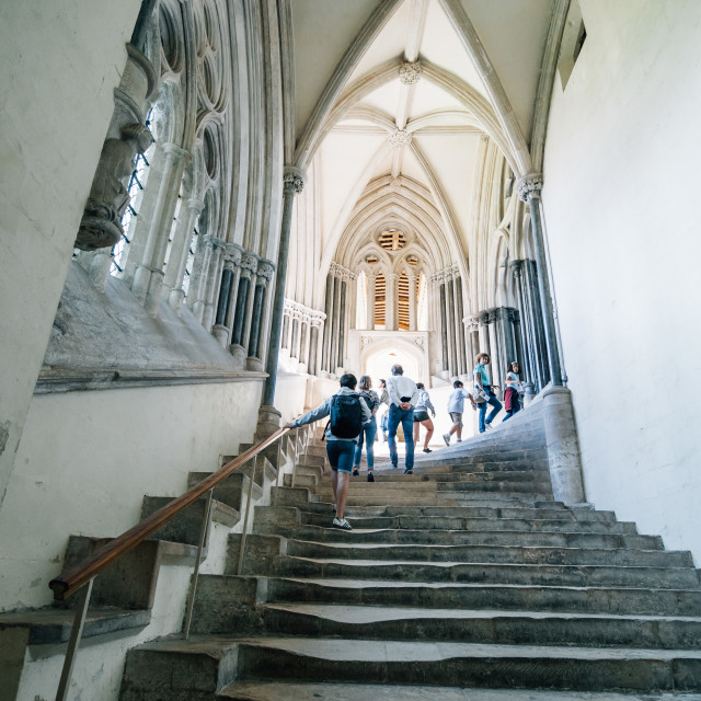 """""""Stairs with people in the Cathedral of Wells"""" stock image"""