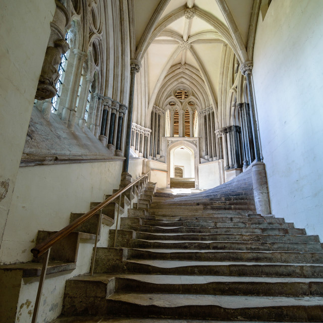 """""""Stairs in the Cathedral of Wells"""" stock image"""