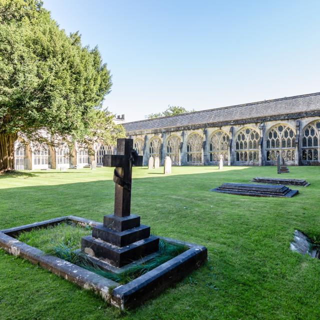 """Cross in the green churchyard"" stock image"