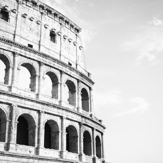 """vintage black and white Colosseum in Rome, Italy"" stock image"