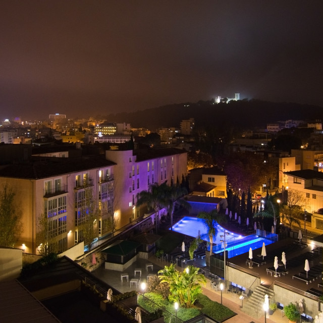 """Night Palma city scene"" stock image"