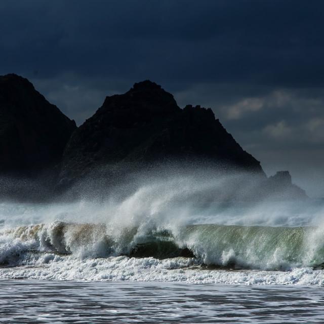"""""""Rocks and seaspray"""" stock image"""