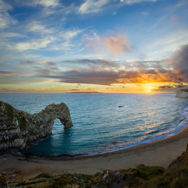 """Durdle Door at Sunset"" stock image"