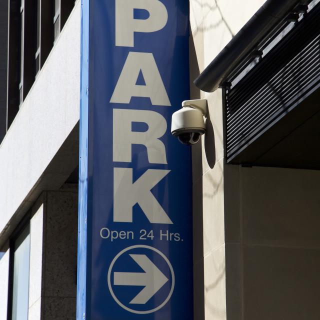 """Parking garage sign, New York City"" stock image"