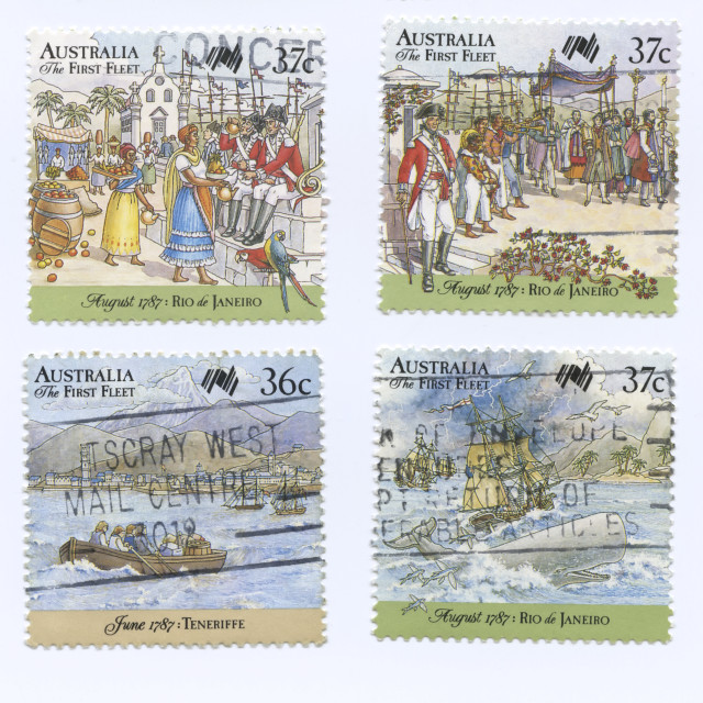 """""""Set of Australia the First Fleet Stamps, shipping and exploring events"""" stock image"""