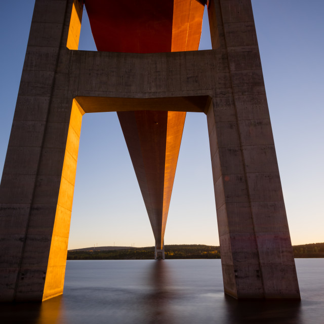 """Under the bridge at sunset"" stock image"