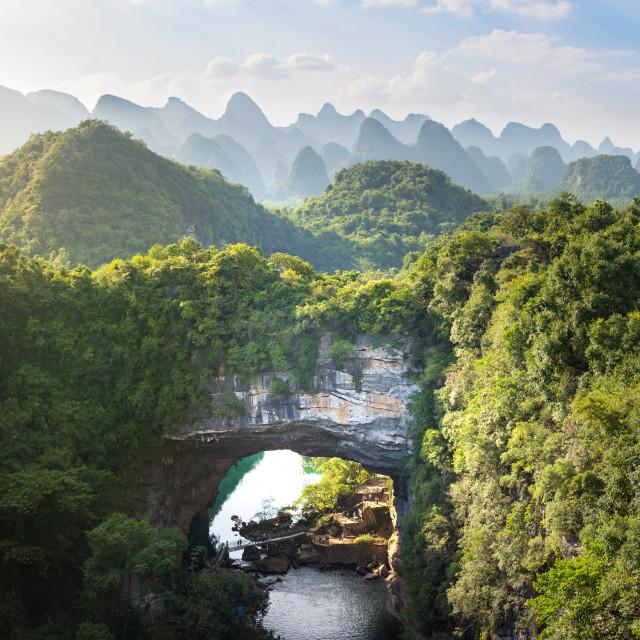 """""""Xiangqiao cave panoramic view, Guangxi, China"""" stock image"""