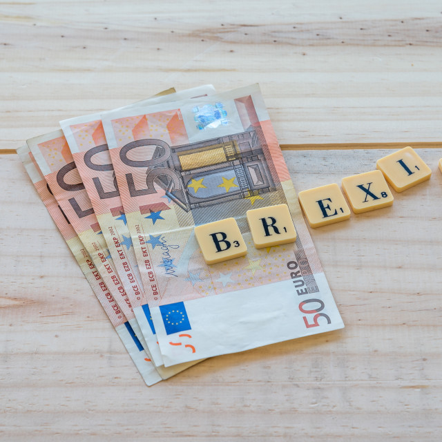 """""""Brexit text with euro money"""" stock image"""