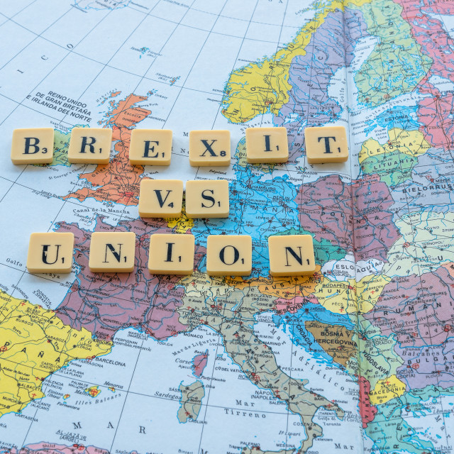 """""""Brexit text on map"""" stock image"""
