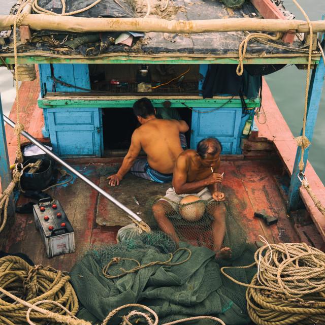 """Da Nang fishermen."" stock image"