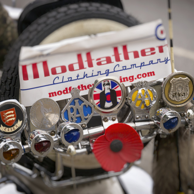 """Badges on Vespa Scooter"" stock image"