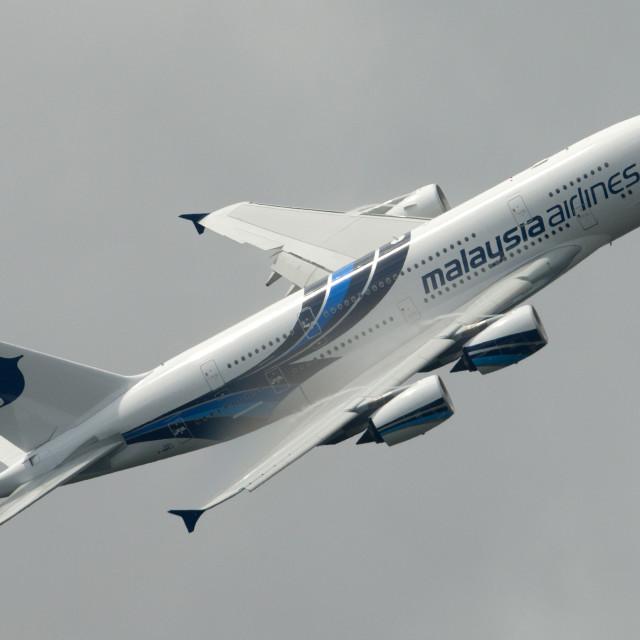 """""""00079 Malaysian Airlnes A380"""" stock image"""