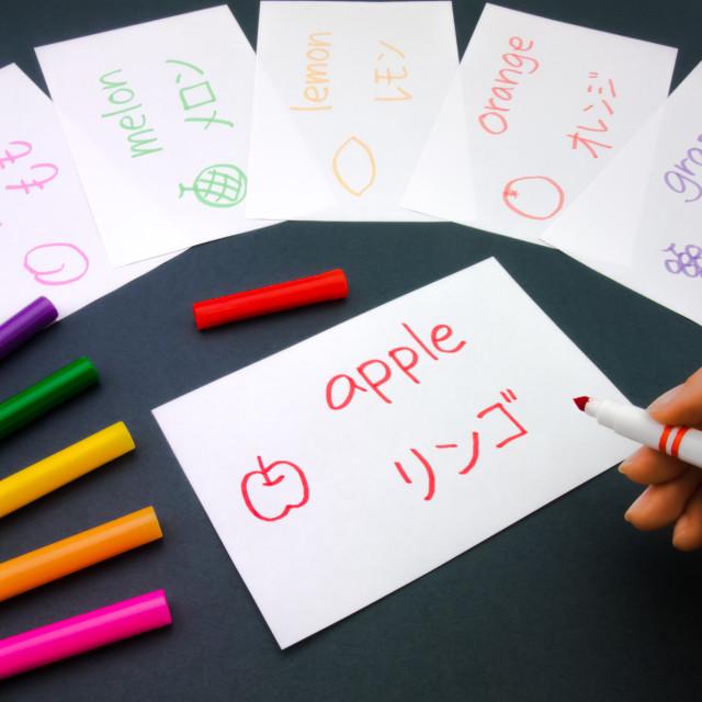 """Making Language Flash Cards; Japanese"" stock image"