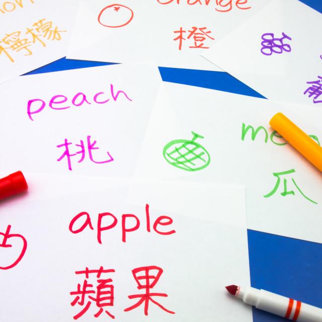 """""""Making Language Flash Cards; Mandalin"""" stock image"""