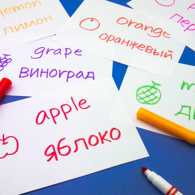 """Making Language Flash Cards; Russian"" stock image"
