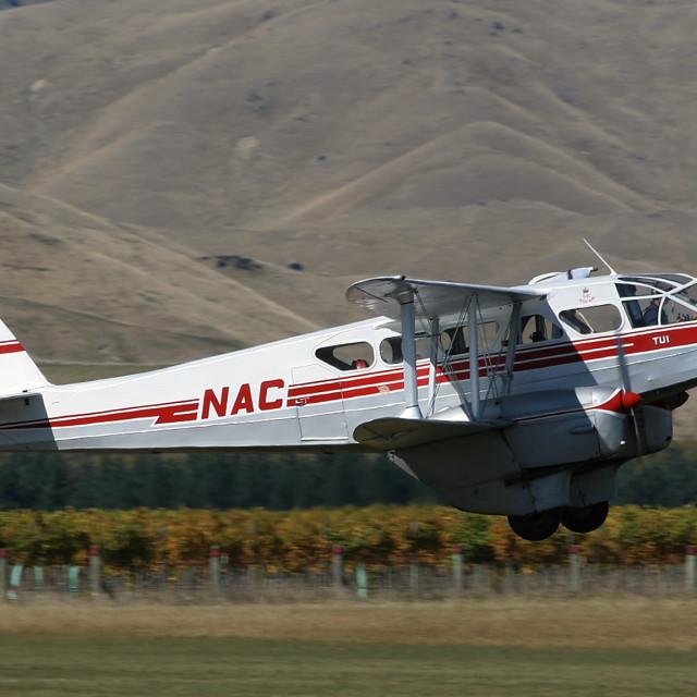 """De Havilland Dragon Rapide taking off."" stock image"