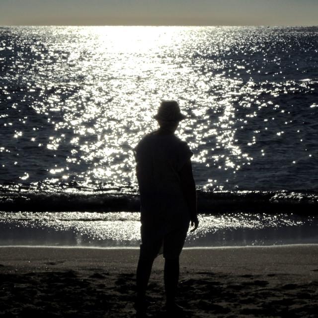 """Silhouette in Falasarna (Creta)"" stock image"