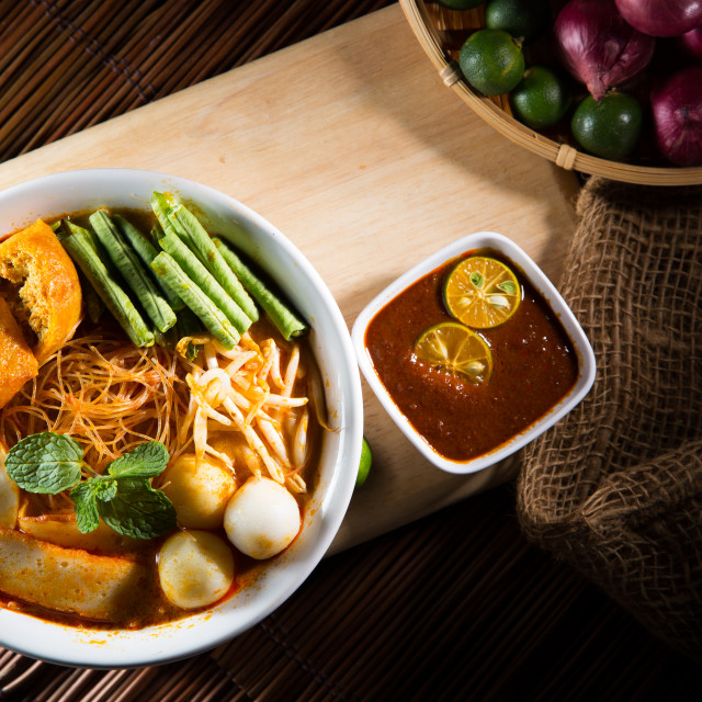 """traditiona curry spicy noodle soup"" stock image"