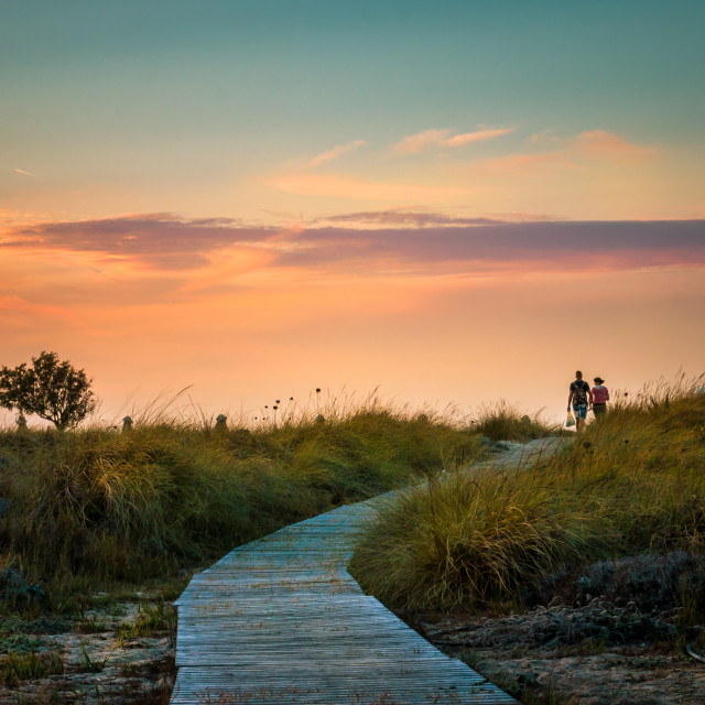 """Sunset for two"" stock image"