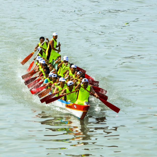 """Spring boat racing in Ca Ty river"" stock image"