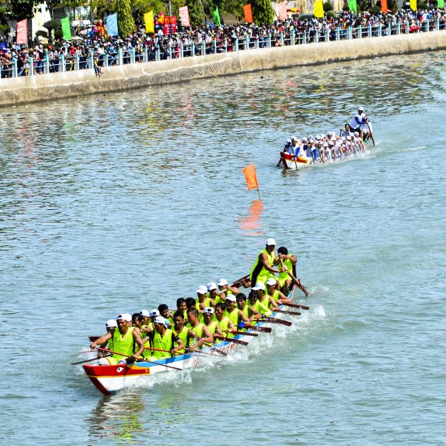 """Spring boat racing in Ca Ty river"" stock image"