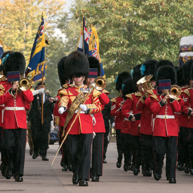 """""""Irish Guards Band led the 124 Transport Squadron in the """"Freedom of Entry"""" from Brentwood Borough Council"""" stock image"""