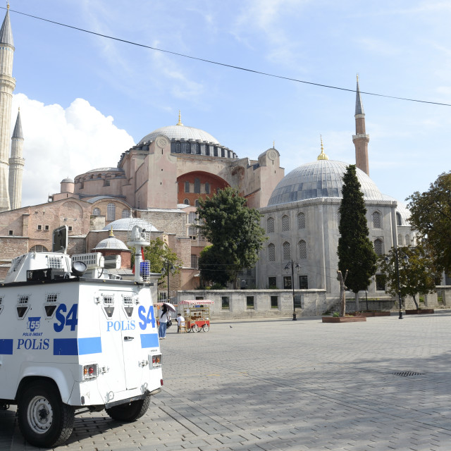 """""""Armored car of the Turkish police guarded the Hagia Sophia in Is"""" stock image"""
