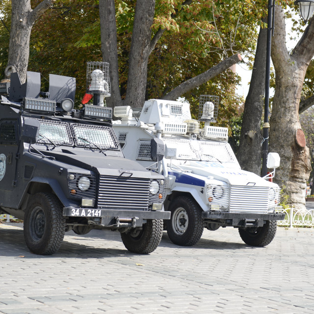 """""""Armored car of the Turkish police guarding Tourist attractions"""" stock image"""