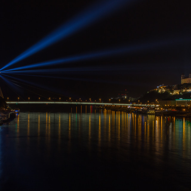 """White Night Bratislava 2016 - UFO, Light-House"" stock image"