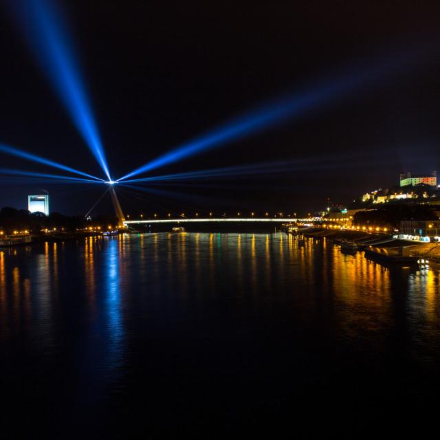 """White Night Bratislava 2016 - UFO, Beacon,"" stock image"