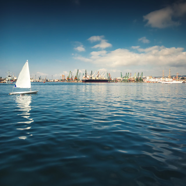 """Sailing boats competing in the regatta at sea"" stock image"