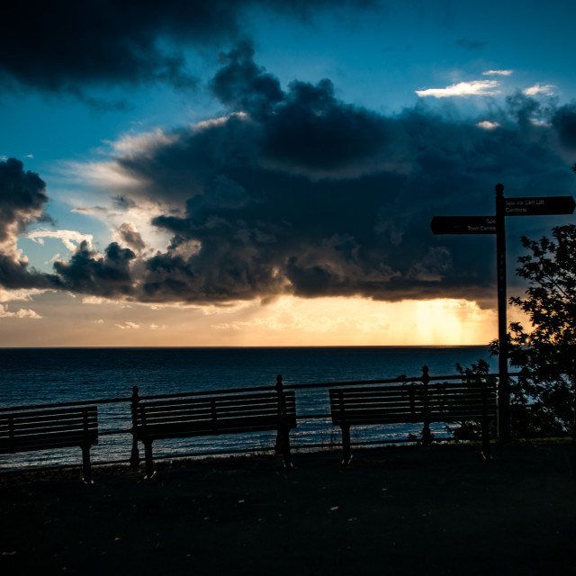 """""""Sunrise with benches"""" stock image"""