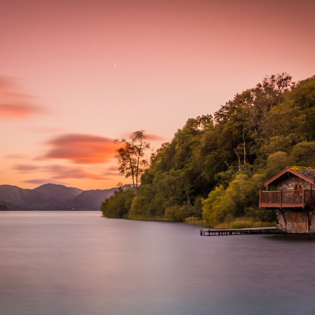 """Duke of Portland Boathouse Sunset, Ullswater"" stock image"