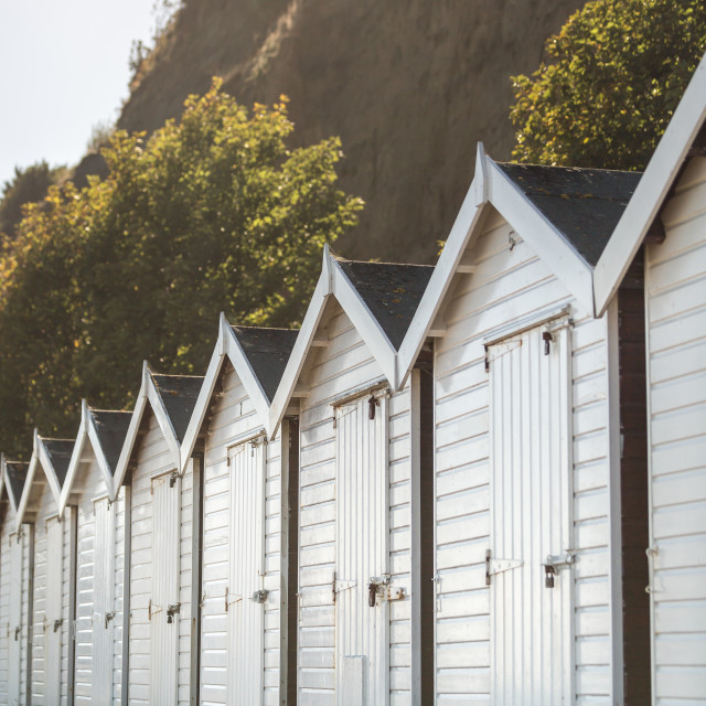 """Beach huts in Shanklin on the Isle of Wight"" stock image"