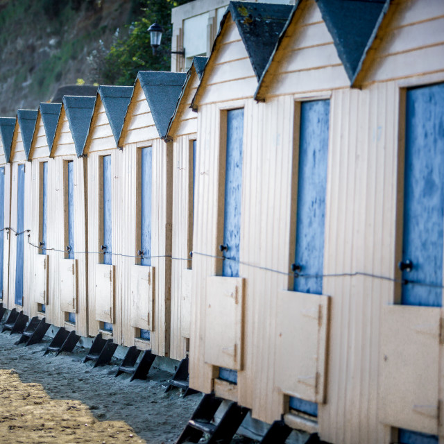 """""""Beach huts in Shanklin on the Isle of Wight"""" stock image"""