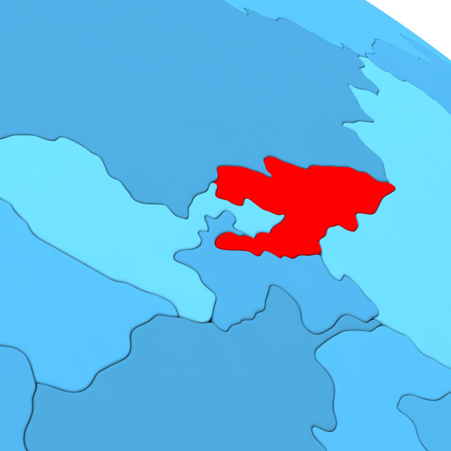 """""""Kyrgyzstan in red on blue globe"""" stock image"""